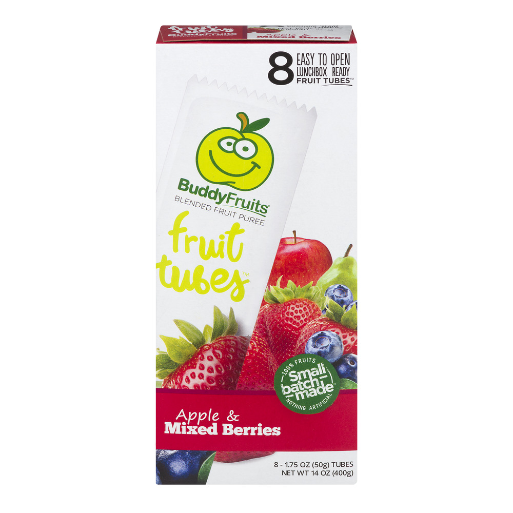 (3 Pack) Buddy Fruits Fruit Tubes, Apple & Mixed Berries, 1.75 Fl Oz, 8 Count
