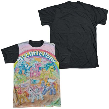 Trevco Sportswear HBRO296-ATBB-1 My Little Pony Retro & Classic Ponies - Short Sleeve Adult White Front Black Back T-Shirt, White - Small - image 1 of 1