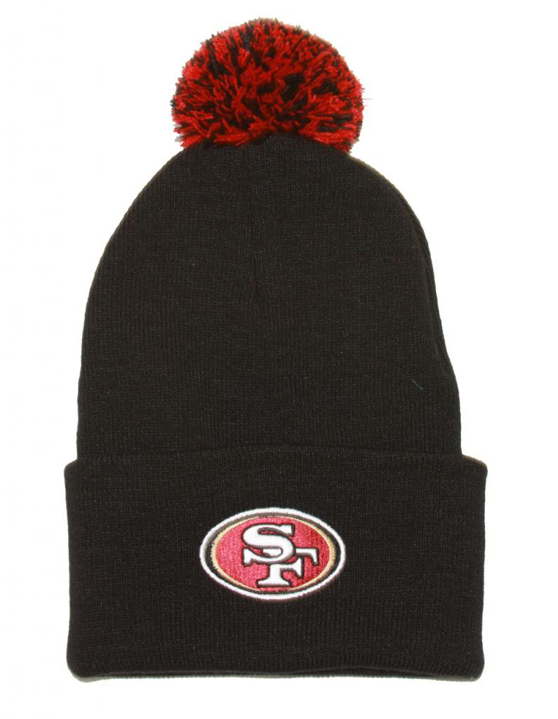 NFL San Francisco 49ers Pom Cuff Black Knit Beanie by