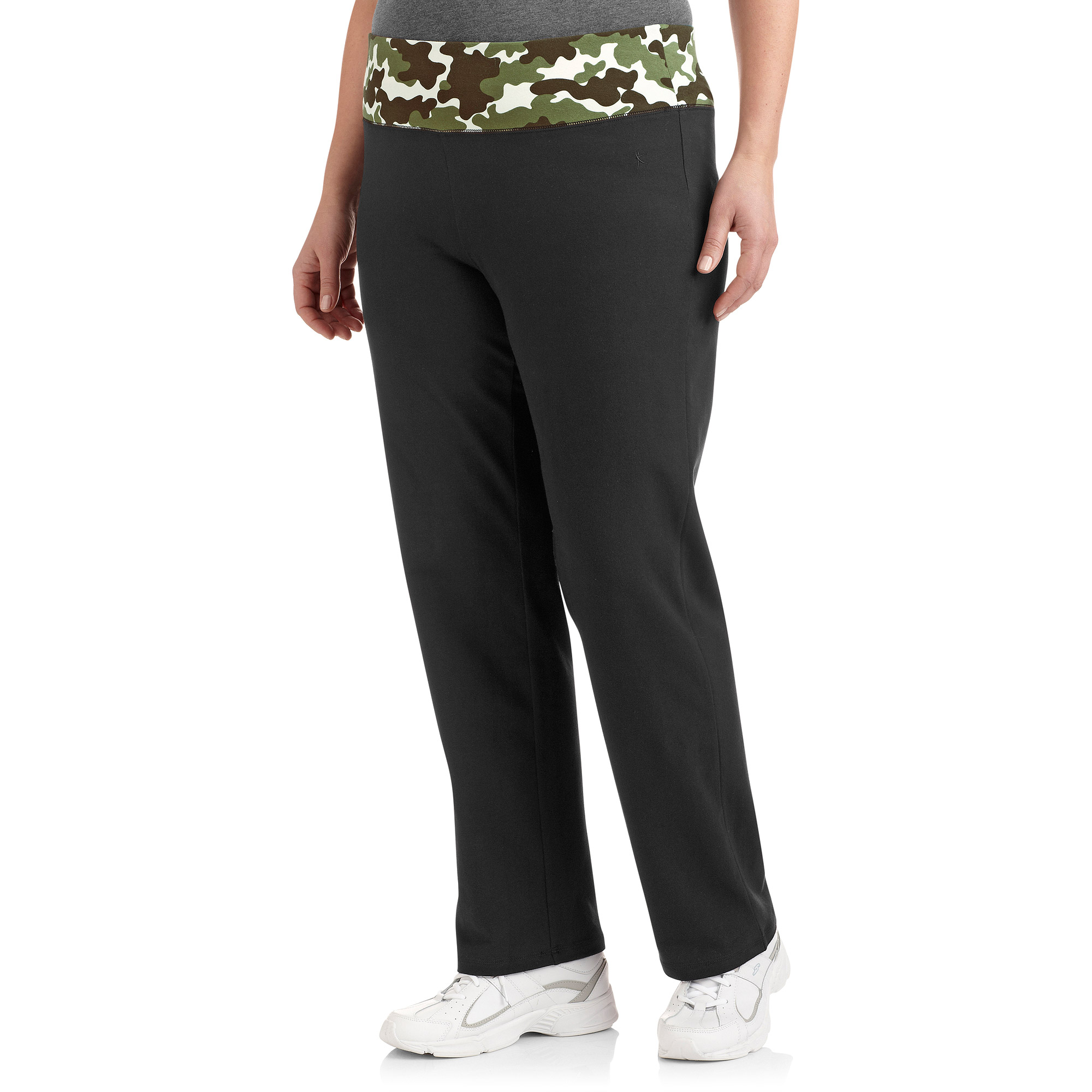Danskin Now Women's Plus-Size Yoga Pant with Printed Waistband, Petite