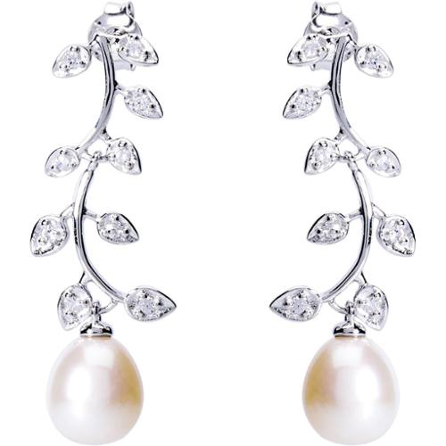 Pearlyta  Sterling Silver 11 - 12 mm Freshwater Pearl and Cubic Zirconia Leaf Dangle Earrings - White
