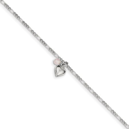 - 925 Sterling Silver Cherry Quartz Dangling Hearts On Figaro Link Anklet Ankle Beach Chain Bracelet For Women Gift Set