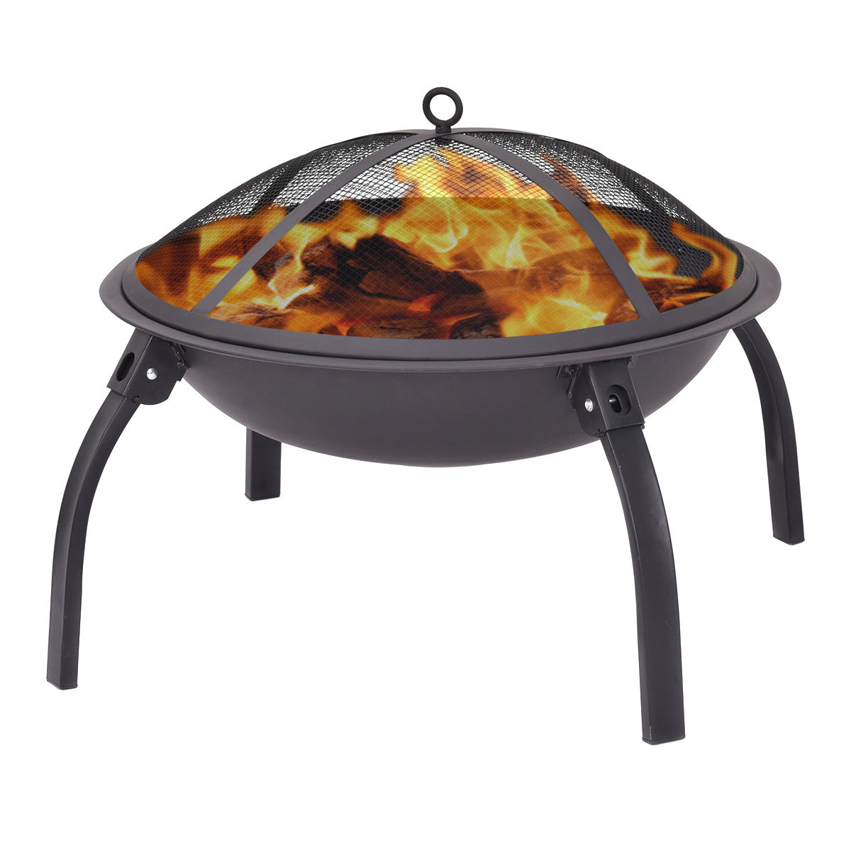 Costway 22'' Outdoor Metal Firepit Backyard Patio Garden Round Stove Firepit With Poker by Costway