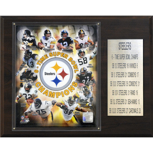 C & I Collectibles NFL Steelers 6 Time Super Bowl Champions Plaque