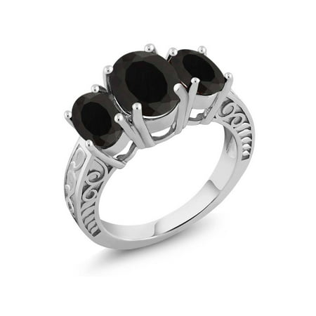 - 3.60 Ct Oval Black Onyx 925 Sterling Silver Ring