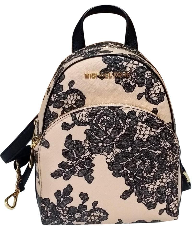 6a092e57aee9 ... authentic new womens michael kors abbey x small oyster black rose  backpack book bag purse 349dc