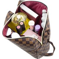 LUXOURIA Travel Brown Checkered Makeup Bag Luxury Desing Cosmetics Bag