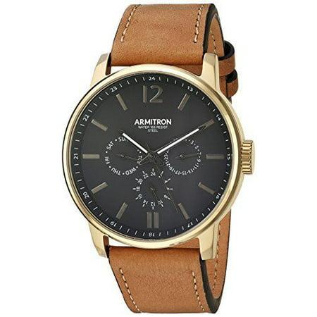 f4b49776722 Armitron - 20 5217BKGPTN Men s Gold Tone Black Dial Leather Multifunction  Watch - Walmart.com