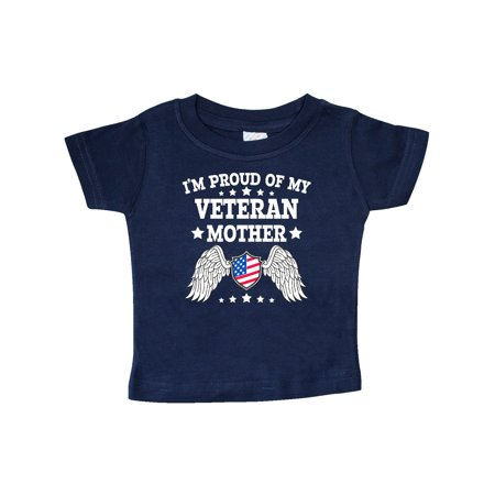 I'm Proud of My Veteran Mother with Shield American Flag and Angel Wings Baby T-Shirt Angel Wings Baby Tee