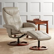 BenchMaster Newport Taupe Swivel Recliner and Slanted Ottoman