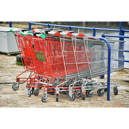 LAMINATED POSTER Metal Red Supermarket Carts Grocery Shopping Poster Print 24 x 36 - Metal Edge Poster