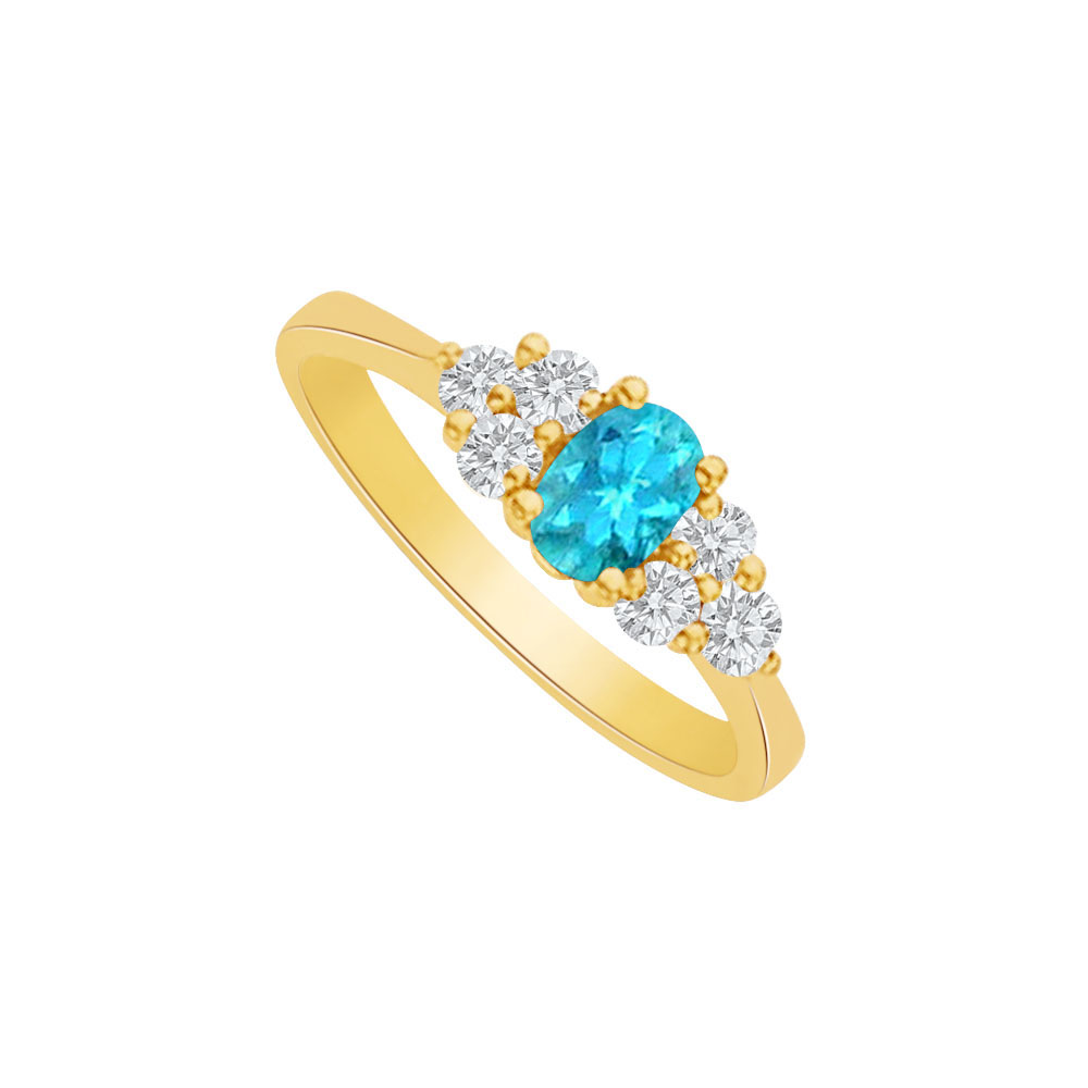 Blue Topaz and CZ Oval Ring in 18K Yellow Gold Vermeil - image 2 of 2
