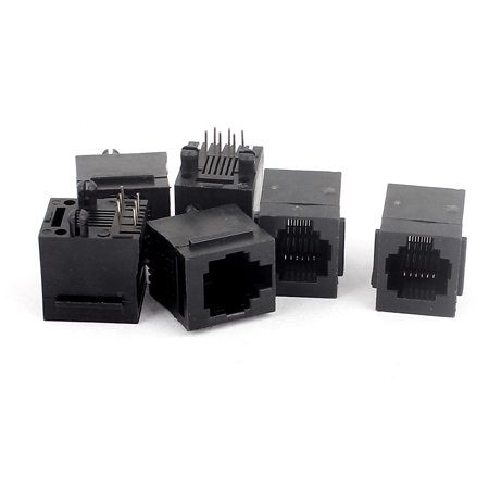 6pcs RJ11 Modular Plug Jack 6P6C PCB Socket Mount Handset Connectors