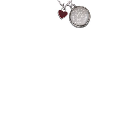 Silvertone Mini Two Sided Maroon Heart Sun Sea Sand Serenity Engraved Necklace](Maroon Necklace)
