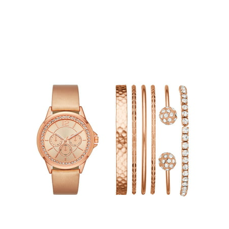 Ladies' Rose Gold Watch and Stackable Bracelet Gift