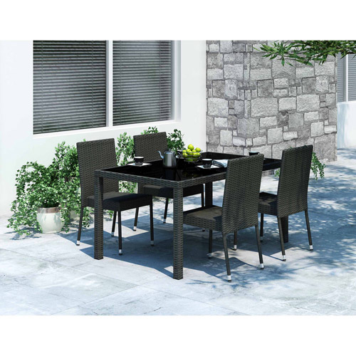 Sonax Z-206-TPP Park Terrace Black Weave 5pc Patio Dining Room Set by Sonax