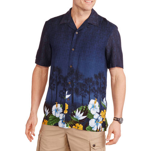 George Men's Rayon Print Hawaiian Shirt