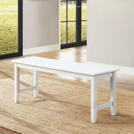 Better Homes & Gardens Bankston Dining Bench, Solid White Finish