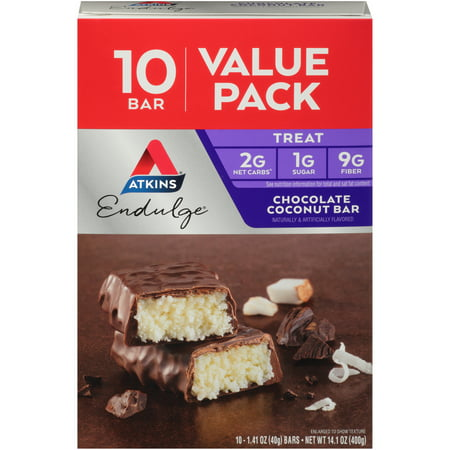 Image of Atkins Endulge Treat, Chocolate Coconut Bar, Keto Friendly, 10 Count (Value Pack)