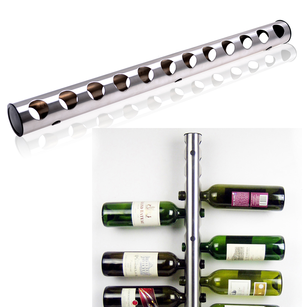 Agptek Stainless Steel Wine Rack Bar Wall Mounted Kitchen Holder 12