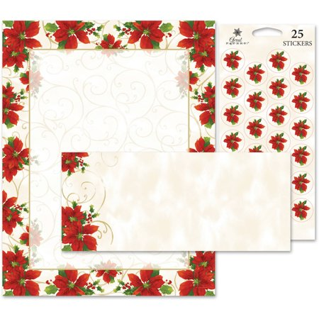 Christmas Card Making Kits (Great Papers! Poinsettia Swirl Stationery Kit, 25)