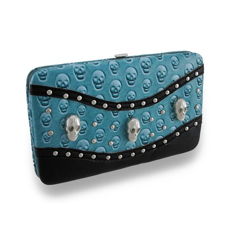 Embossed Skull Studded Flat Wallet with Glossy Patent Vinyl Trim (Embossed Tri Fold Wallet)