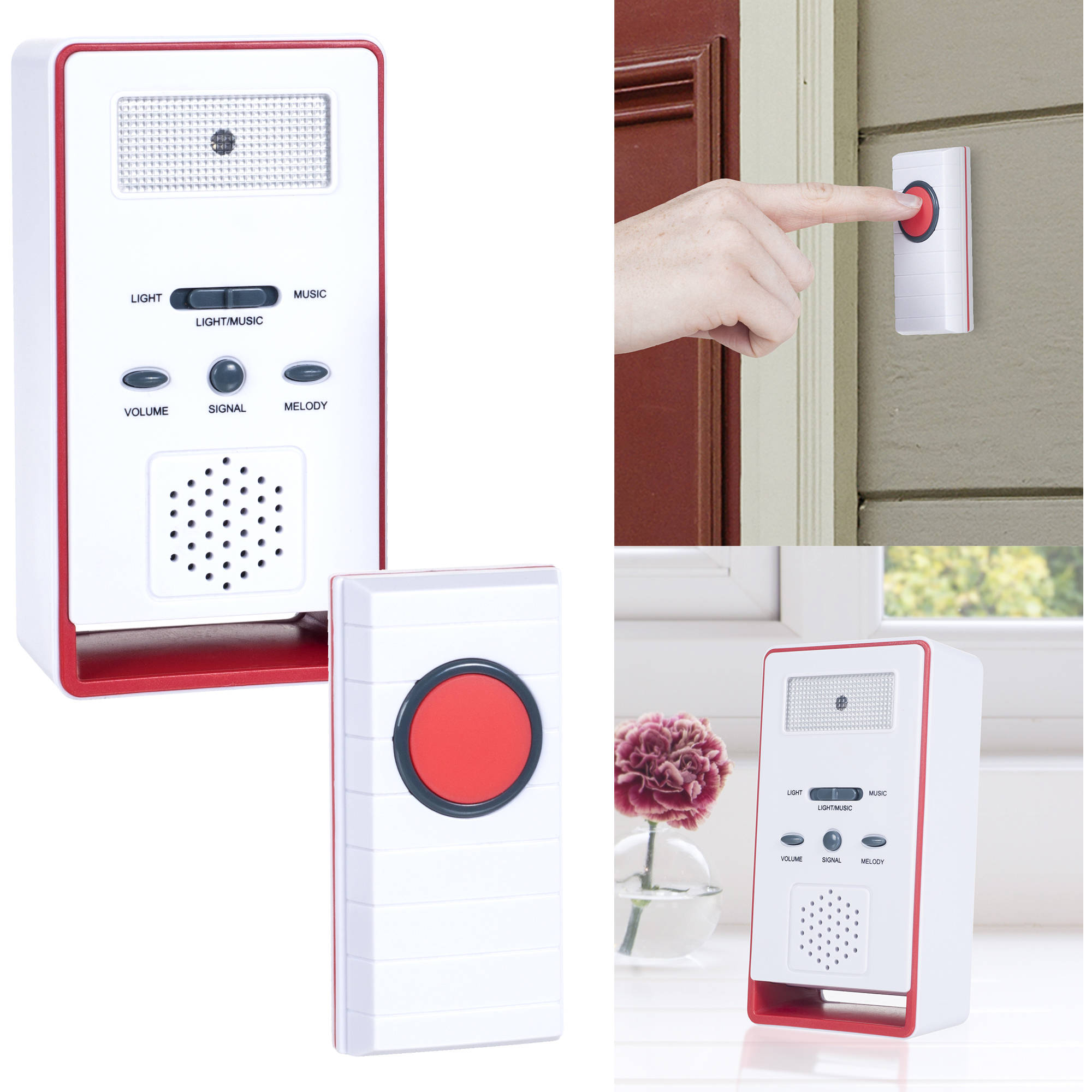 Stalwart Wireless Remote Doorbell Chime and Push Button