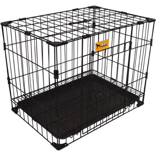 Paw Essentials MWG-C223 24in Reinforce Bold Folding Metal Dog Crate w/ Divider - Black