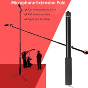 """Micro Boom Pole Microphone 3/8'' Connector Mic Holder 5 Section Boompole Portable Folding Holder 14""""-59"""" Extension"""