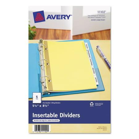 Avery Insertable Standard Tab Dividers 5 Tab 8 12 X 5 12