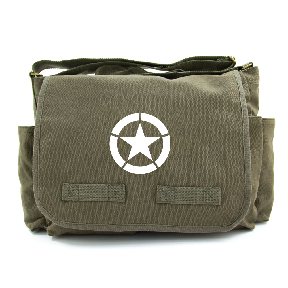 World War 2 Military Jeep Star Army Heavyweight Canvas Messenger Shoulder Bag