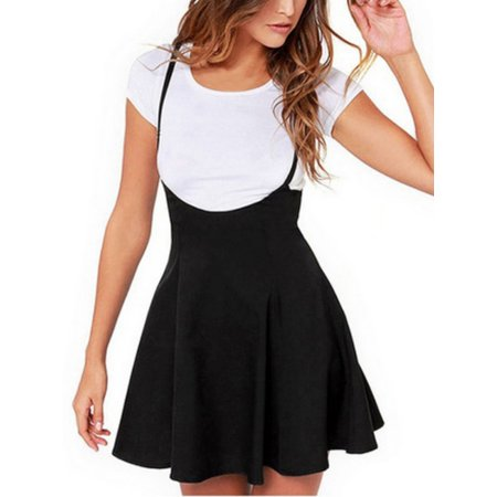 Women Sleeveless Adjustable Sling Dress Pastel Pleated Mini Skirt