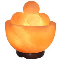Salt Gems Himalayan Massage Salt Lamp for Back, Legs, Neck and Feet Massage with Salt Round Massage Balls, Elegant Wood Base, 25W Bulb and Electric-Cord Included