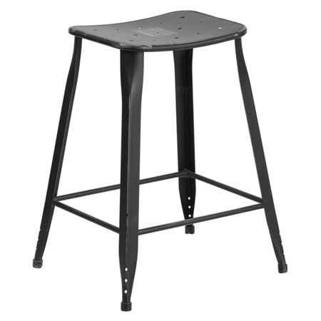 Metal Black Counter Stools - Flash Furniture 24 in. High Distressed Metal Indoor/Outdoor Counter Stool