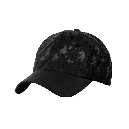 C.C Women's Floral Lace Panel Vented Adjustable Precurved Baseball Cap Hat, Black