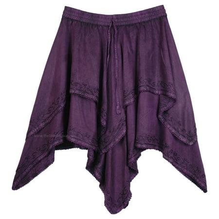 Tango Mid Length Dance Skirt in Purple with Asymmetrical Hem](Mid Length Petticoat)