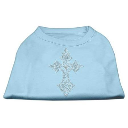 Rhinestone Cross Shirts Baby Blue L 14