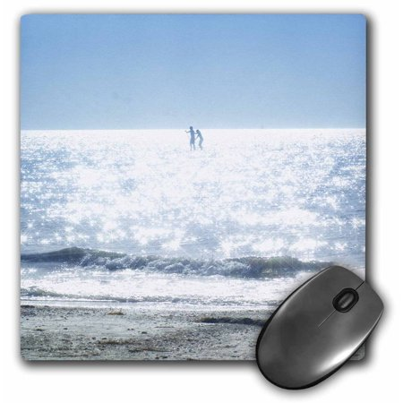 - 3dRose Kids On White Sparkly Waves and Blue Skies, Mouse Pad, 8 by 8 inches