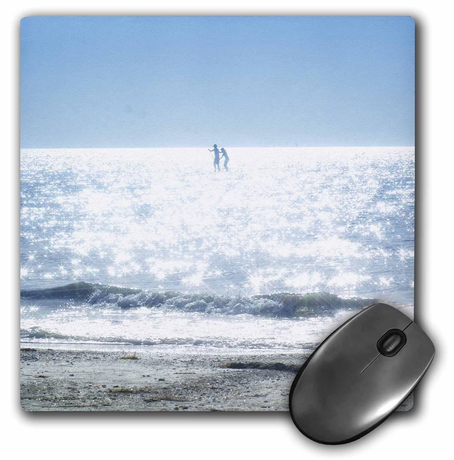 3dRose Kids On White Sparkly Waves and Blue Skies, Mouse Pad, 8 by 8 inches