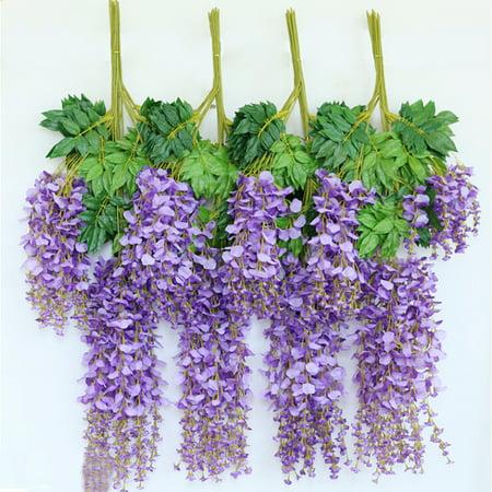 12pcs 110cm Artificial Wisteria Simulation Flowers Home Garden Garland Wedding Decor (Purple)