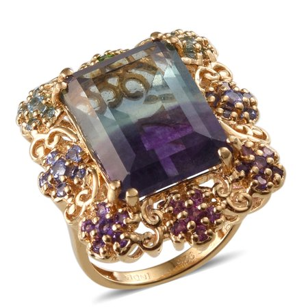 - 925 Sterling Silver Yellow Gold Plated Octagon Multi Fluorite Multi Gemstone Cluster Ring Cttw 1.3