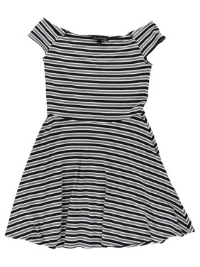 d34f03e083a Product Image Derek Heart Womens Stripe Fit   Flare Dress black L - Juniors
