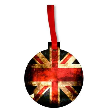 Novelty Onesies Uk (Flag UK - United Kingdom GB Great Britian England English Vintage Grunge Style Flag Round Shaped Flat Hardboard Christmas Ornament Tree Decoration - Unique Modern Novelty Tree Décor)