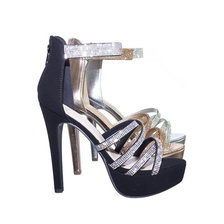 480e4c38a3 Mullen by Speed Limit 98, Rhinestone Embellished Open Toe Platform Stiletto  Party Dress Sandal