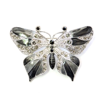 Gorgeous Rhinestone Crystal Enamel Butterfly Pin Brooch - Pin Brooch,Black Butterfly Ruby Brooch