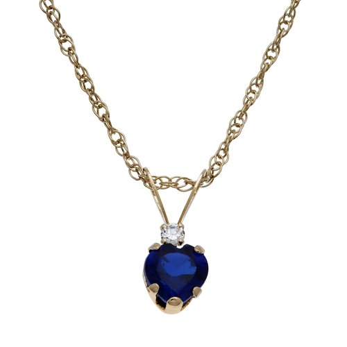 """.55 Carat T.G.W. Created Sapphire and CZ 10kt Gold Heart Pendant, 18"""""""