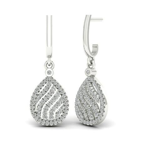Dangling Drop Diamond Earrings - 1/3ct Diamond Dangling Drop Earrings S925 Sterling Silver