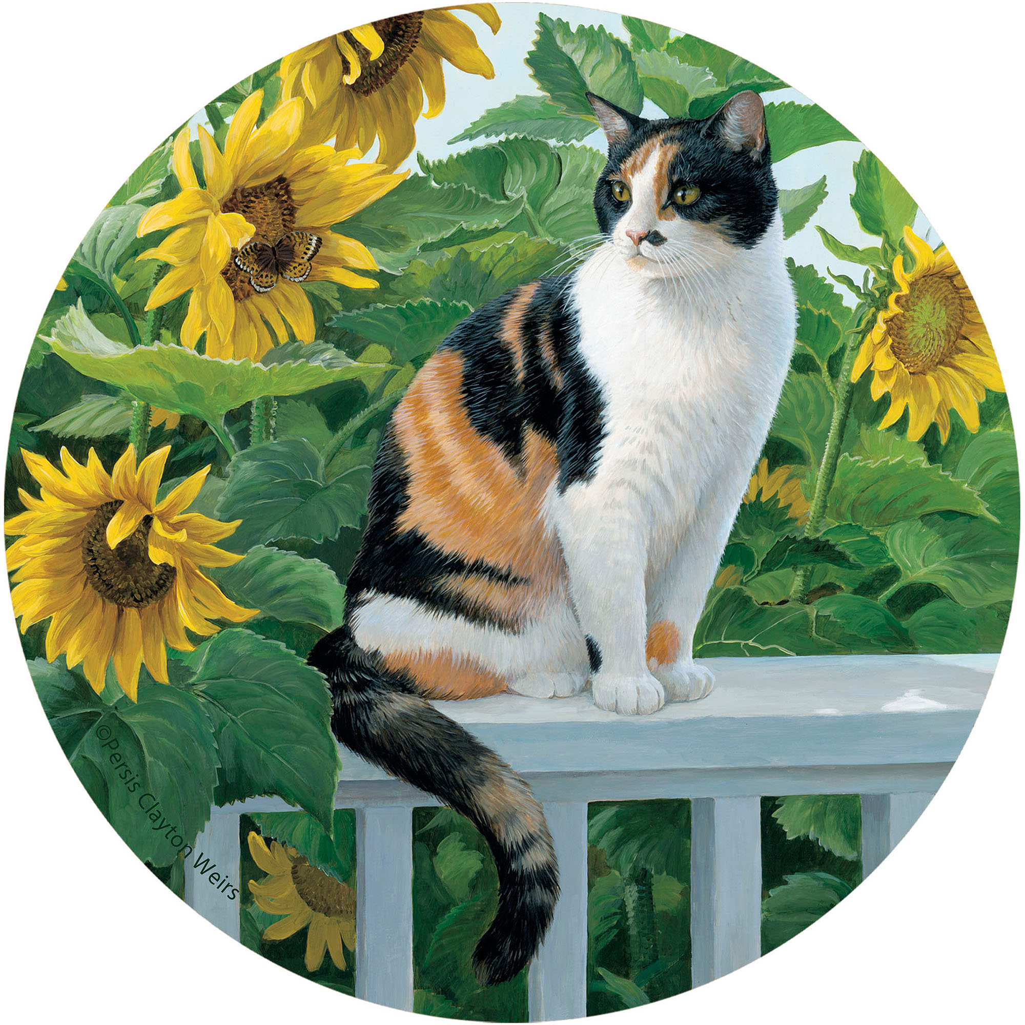 Thirstystone Drink Coasters Set, Cat and Sunflowers