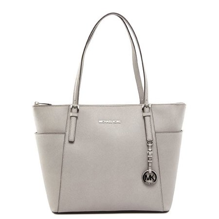 Michael Kors Large Jet Set Item E/W Pearl Grey Tote Handbag