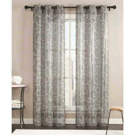 Sheer Grommet Window Curtain Panel Pair With White Scroll
